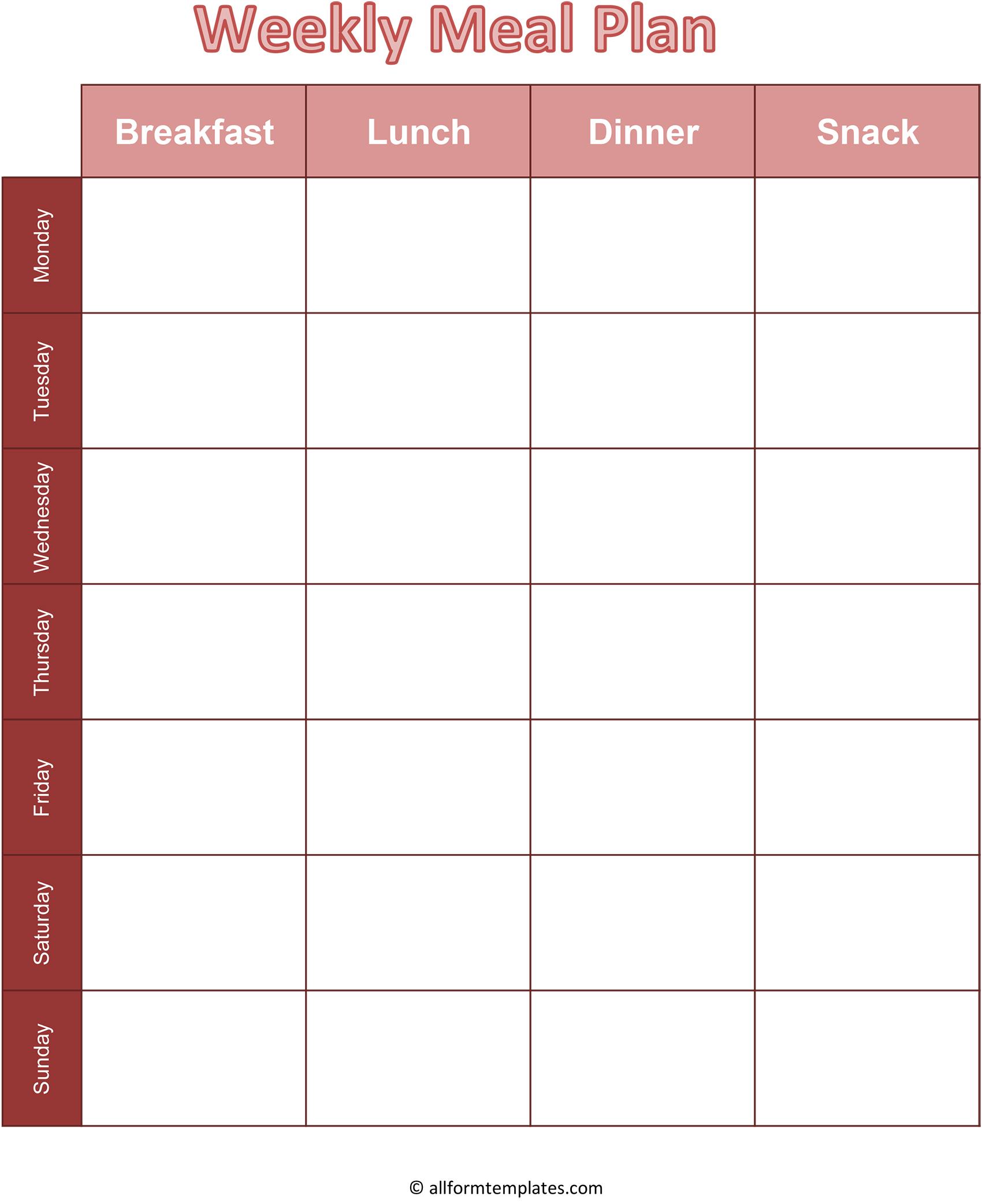 Printable Blank Monthly Meal Planner In Pdf, Word & Excel
