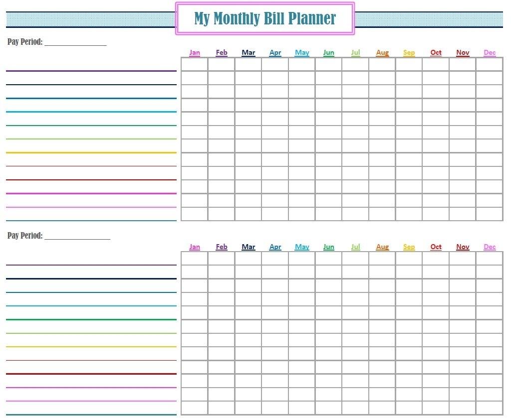 Printable Blank Paying Bills Organizer - Calendar