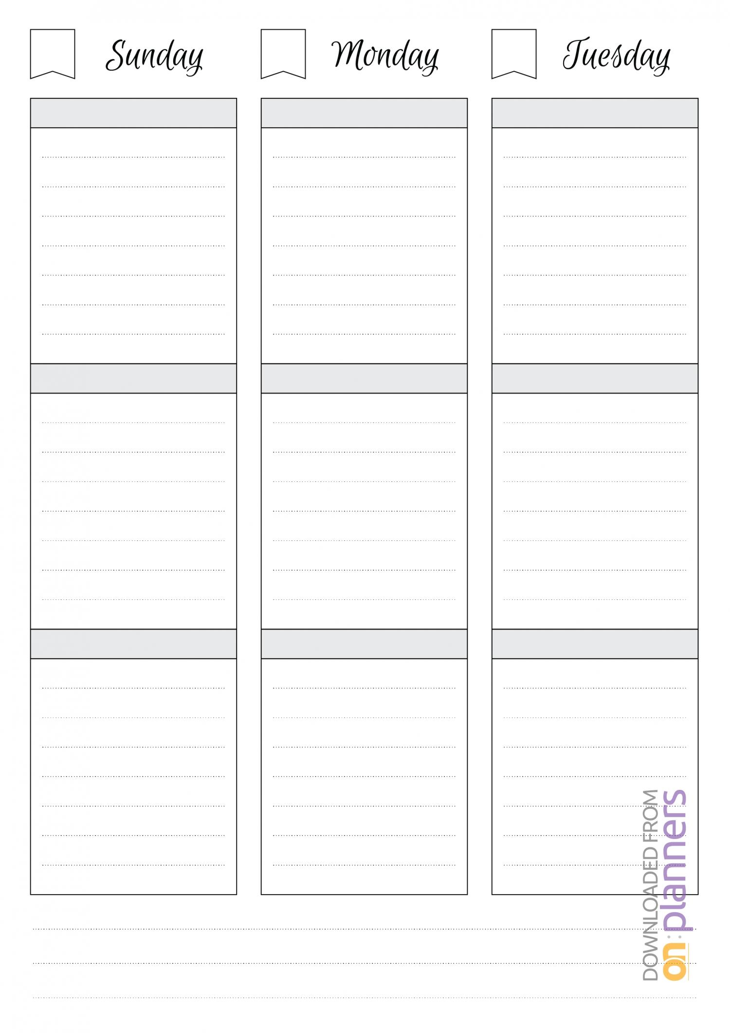 Printable Blank Weekly Calendars Templates | Free Calendar