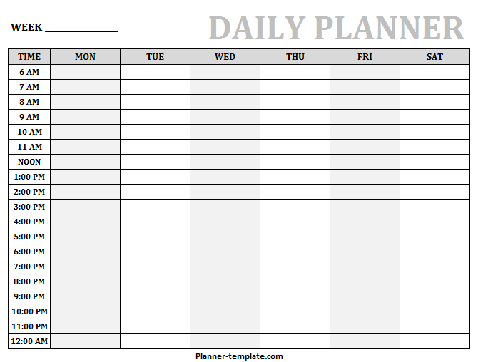 Printable Daily Planner Template | Blank Daily Hourly