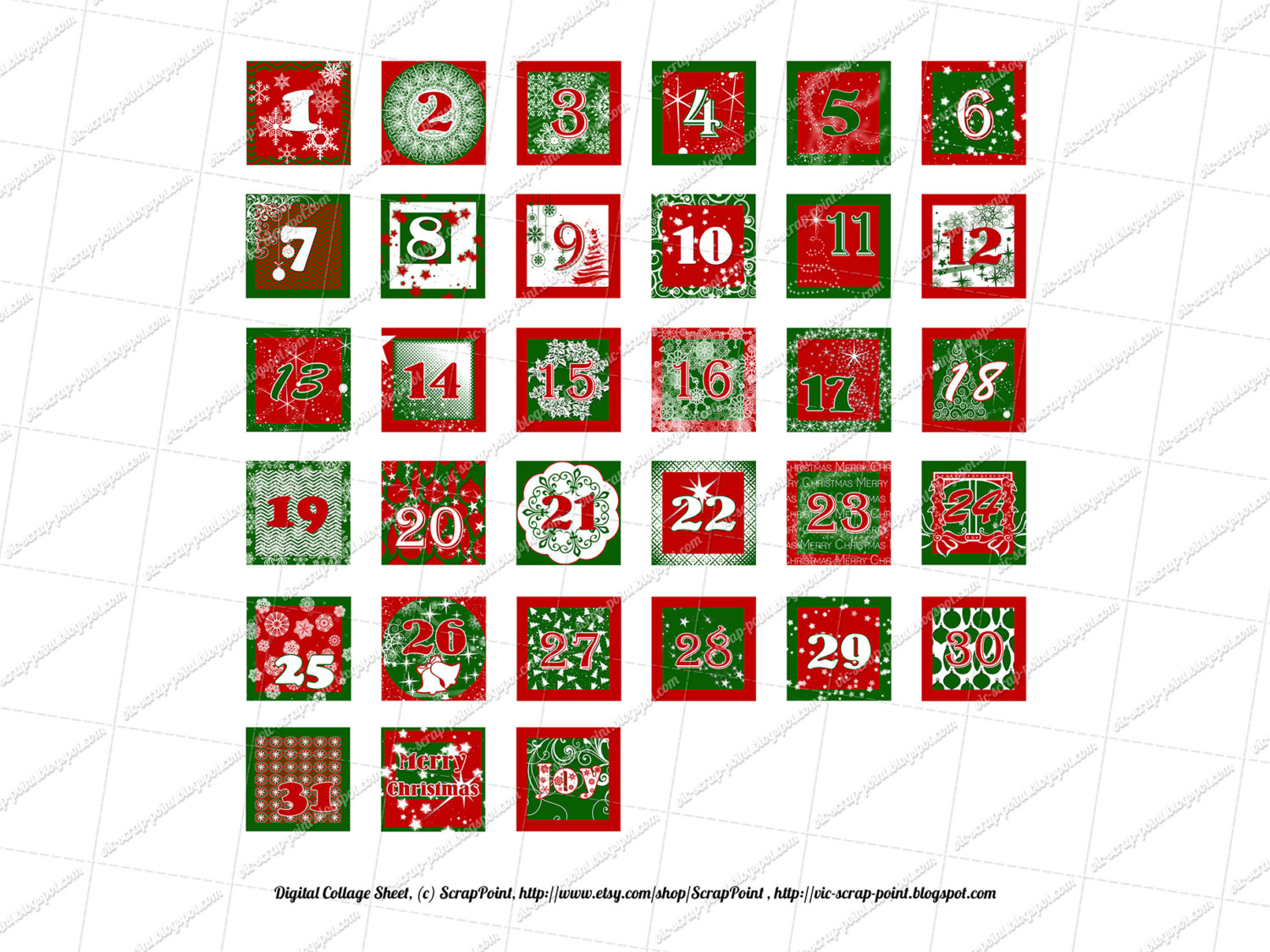 Printable December Daily Numbers 1 1.5 2 & 3 Inch Squares