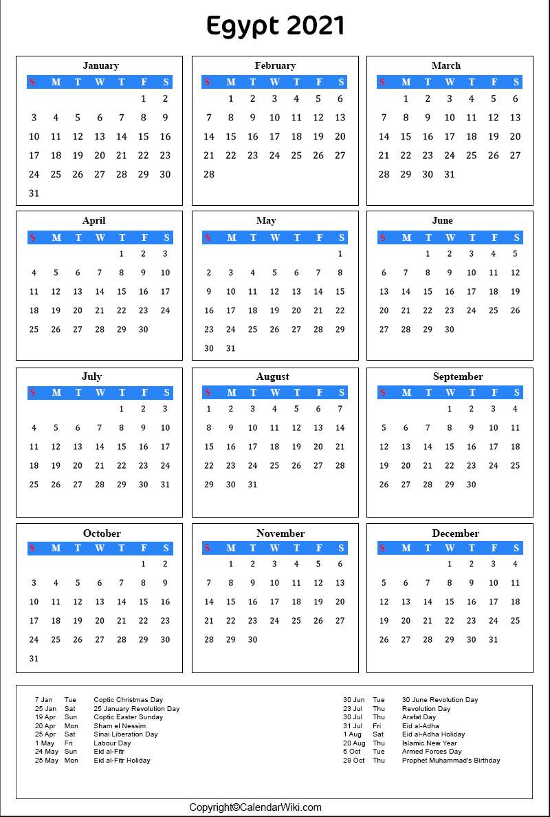 Printable Egypt Calendar 2021 With Holidays [Public Holidays]