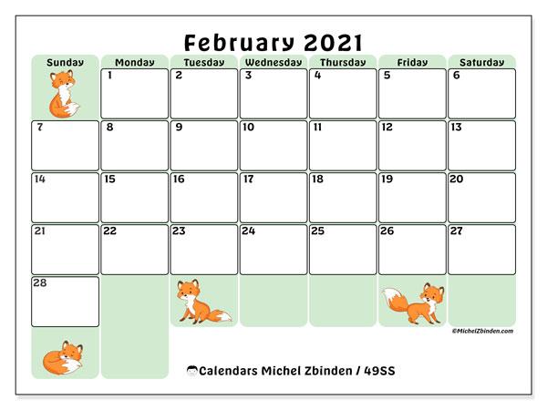 """Printable February 2021 """"49Ss"""" Calendar - Michel Zbinden En"""