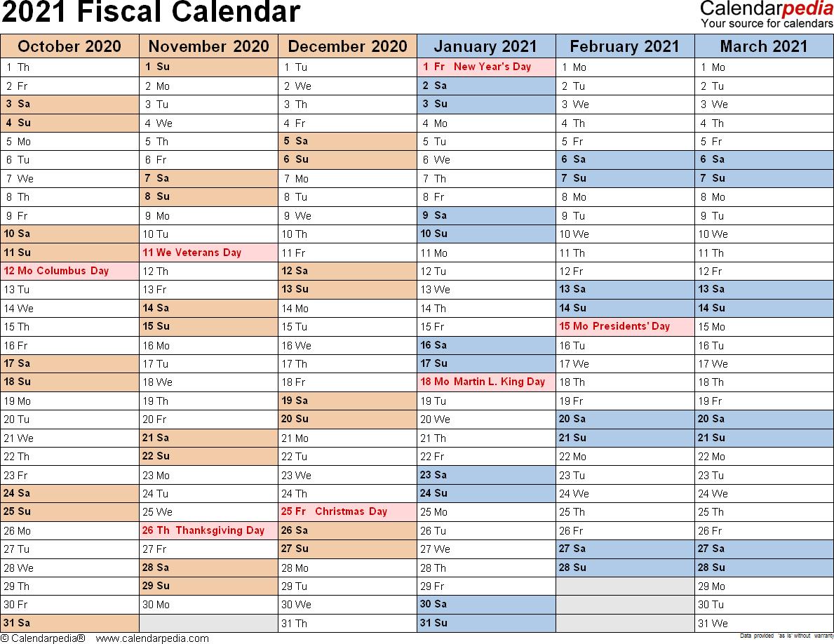 Printable Financial Calendar 2020/21 | Free Printable Calendar