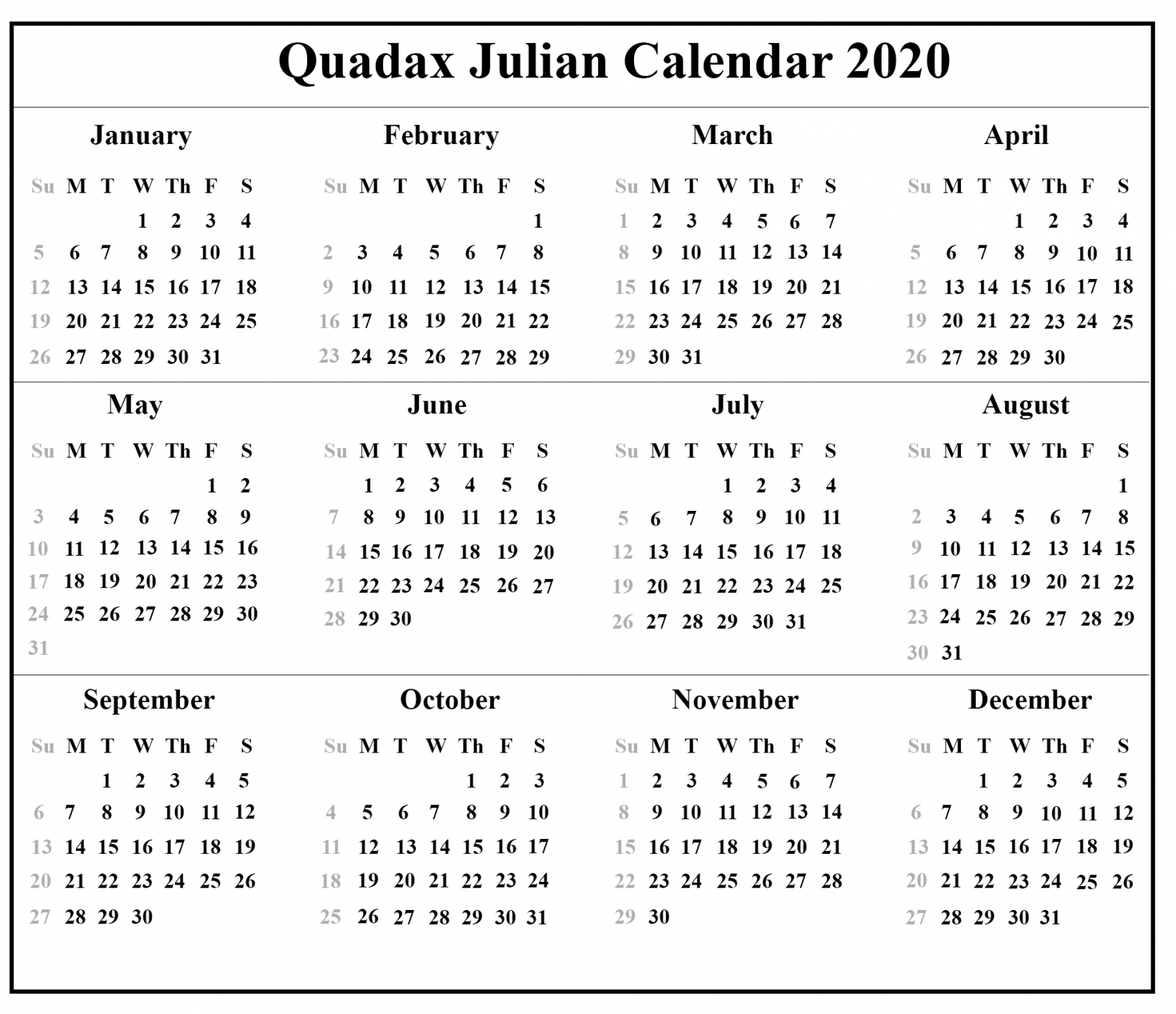 Printable Julian Calendar 2020   Free Letter Templates