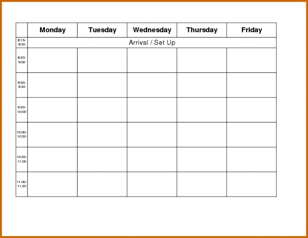 Printable Monday Through Friday Template - Bing