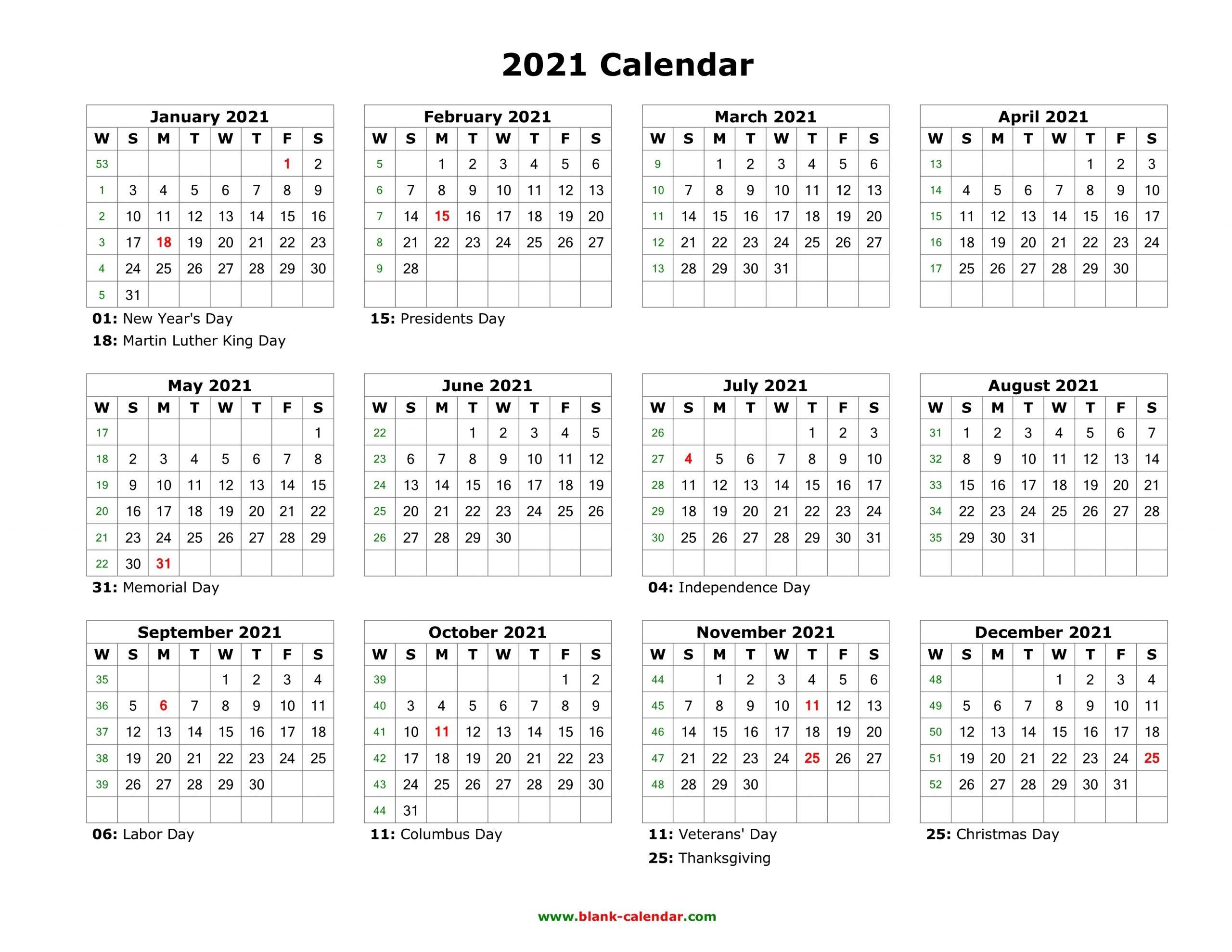 Printable Monday Through Sunday Calendar 2021 - Calendar