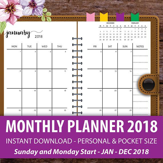 Printable Monthly Planner 2018, Monthly Calendar Planner