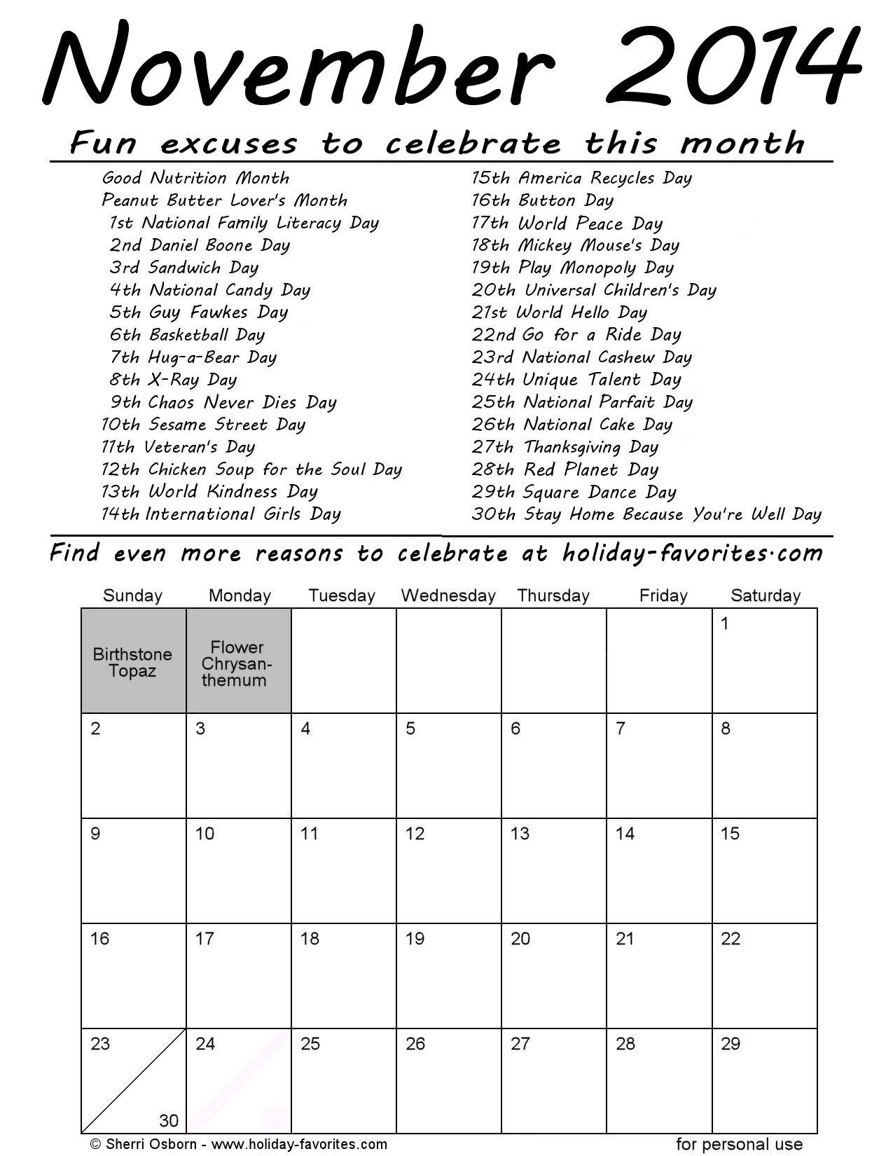 Printable November 2014 Calendars | Holiday Favorites
