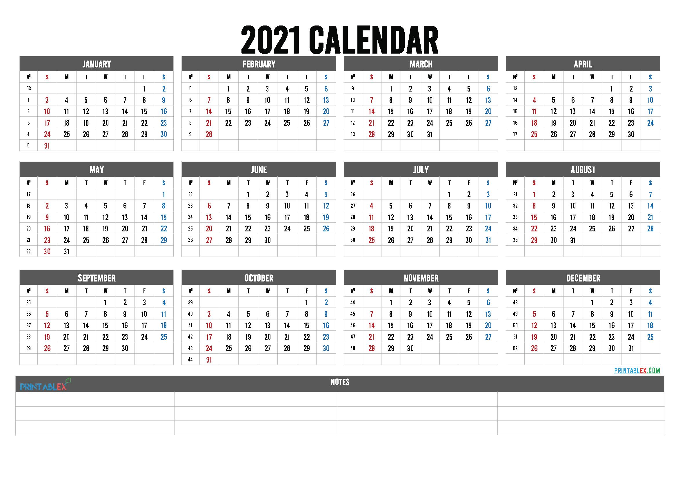 Printable Week Number Calendar 2021   2022 Calendar