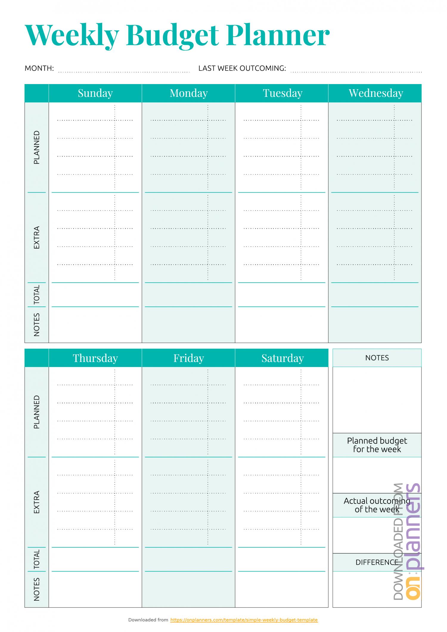 Printable Weekly Bill Planner | Example Calendar Printable