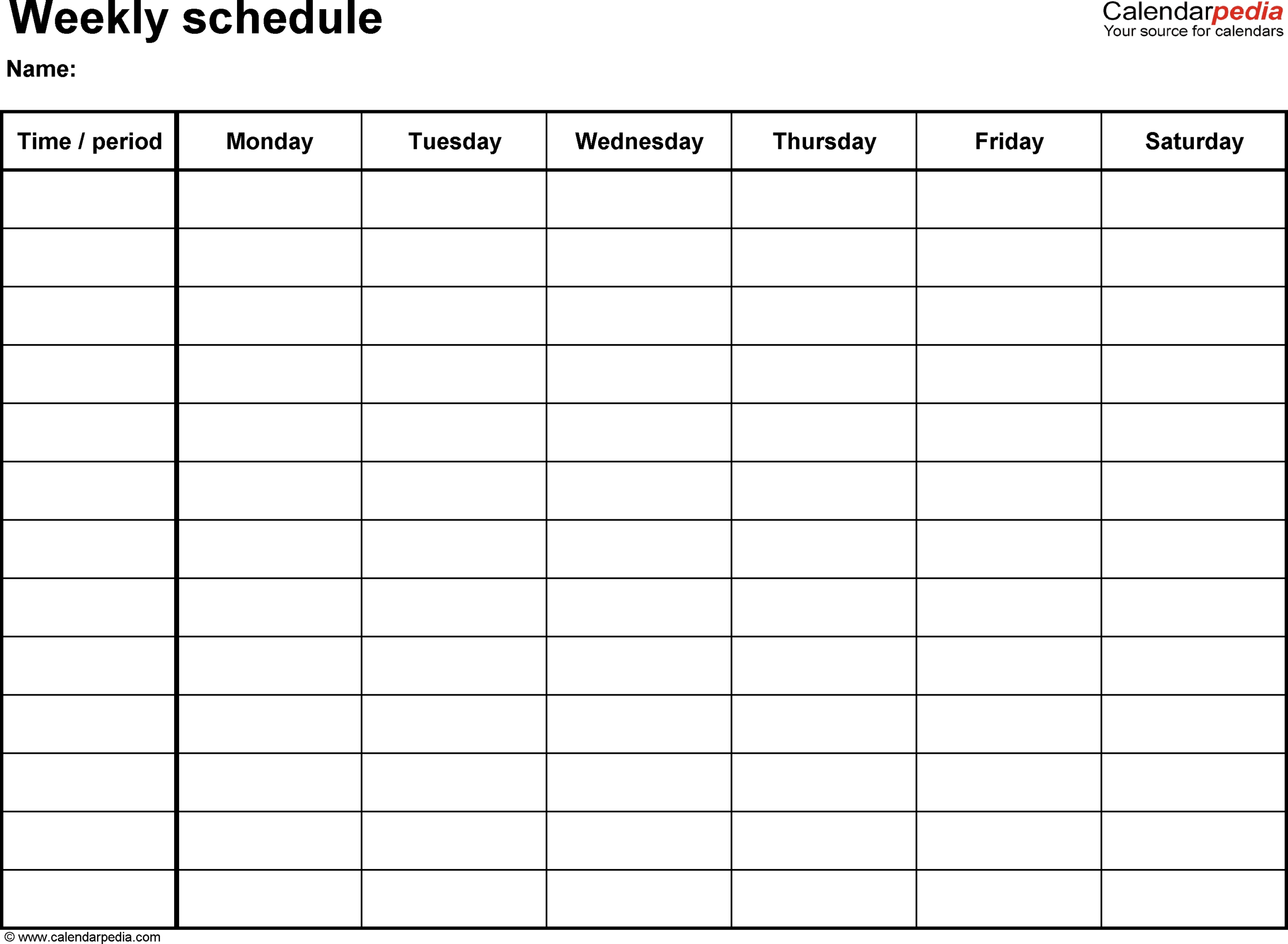Printable Weekly Calendar With 15 Minute Time Slots | Calendar Template Printable