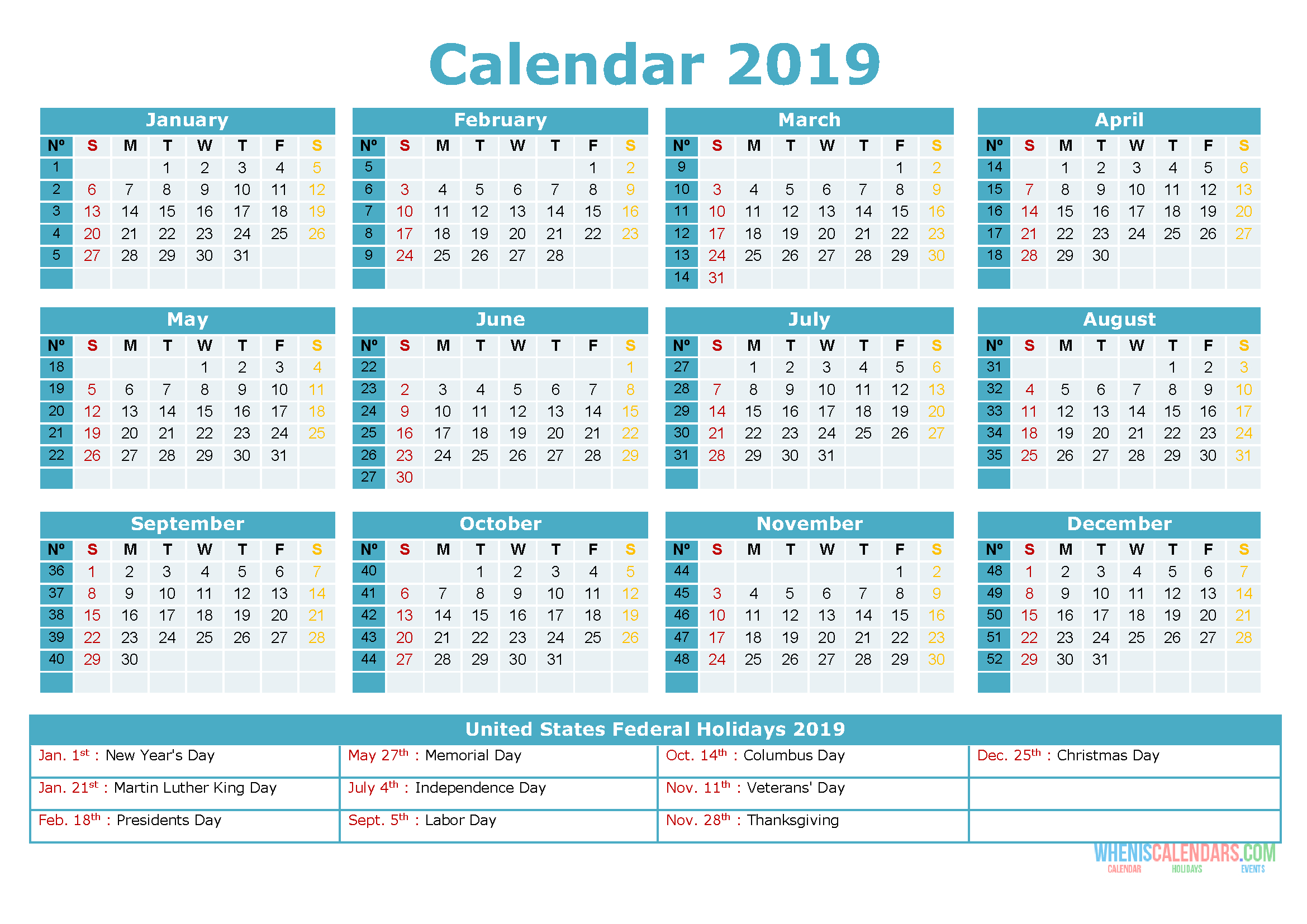 Printable Yearly Calendar 2019 With Holidays As Pdf And