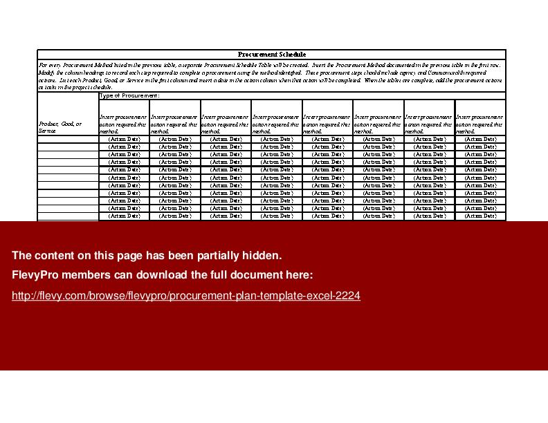 Procurement Schedule Template Excel | Printable Schedule Template