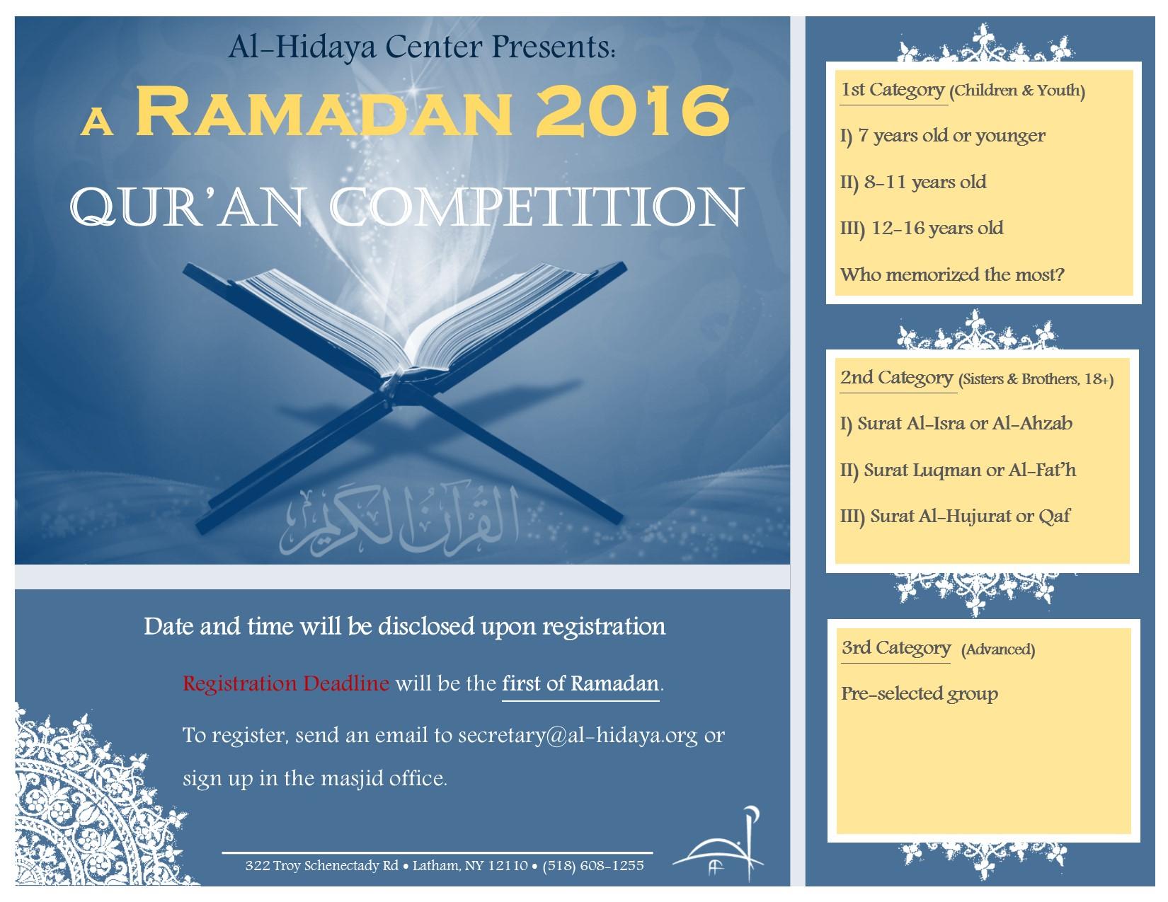 Ramadan 2016 Quran Competition - Al-Hidaya Center