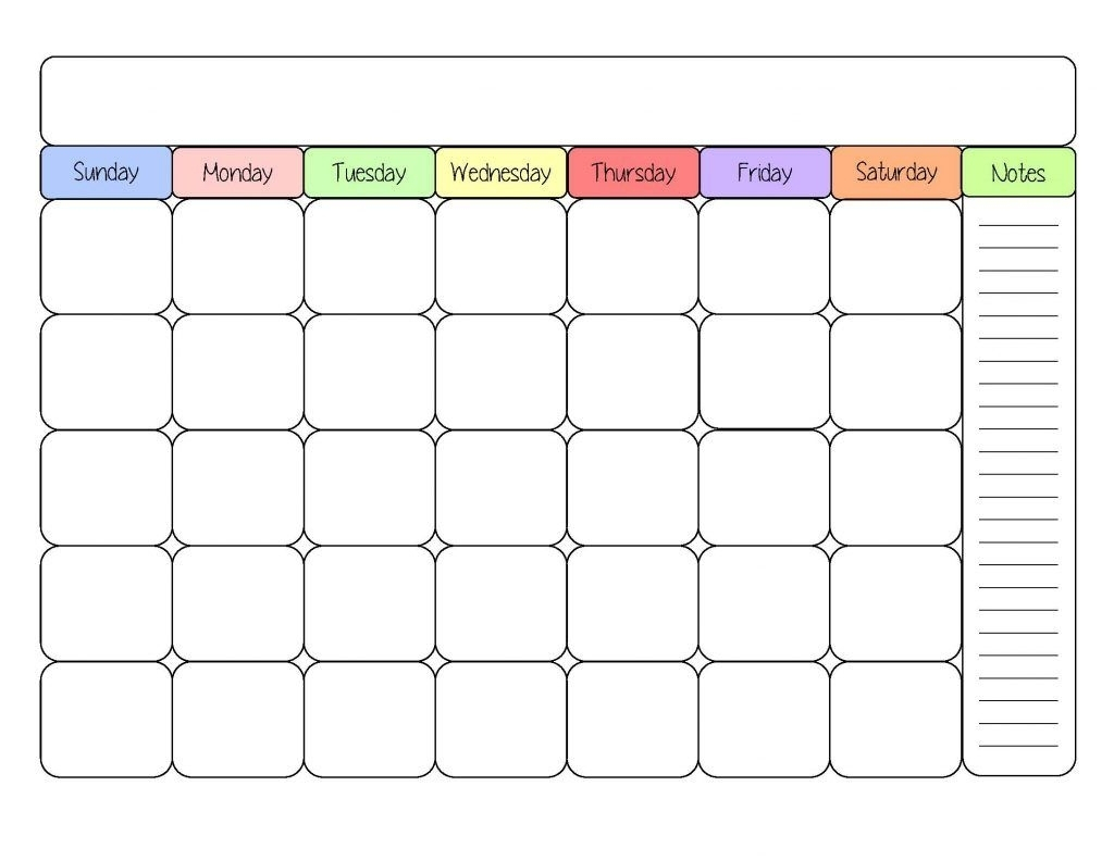 Sample Monthly Calendars To Printable With Notes