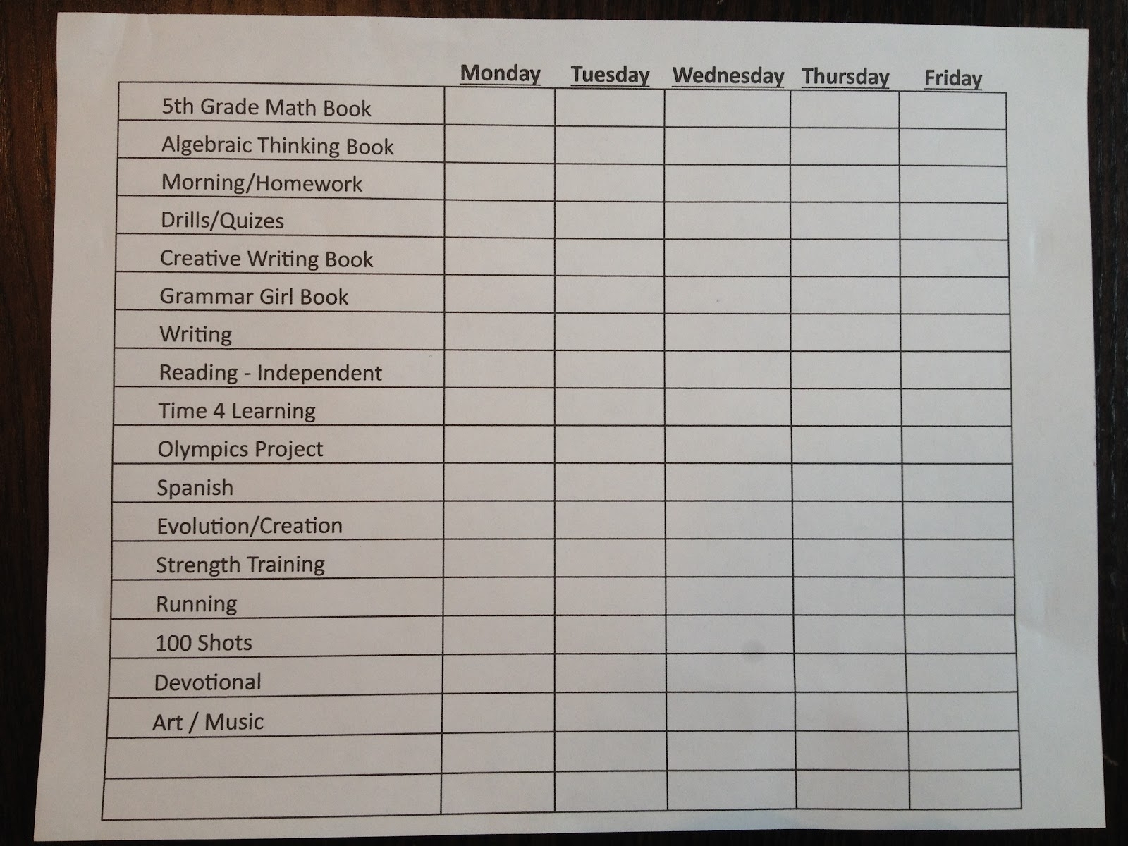 Schedule For The Day In 15 Min Increments | Ten Free