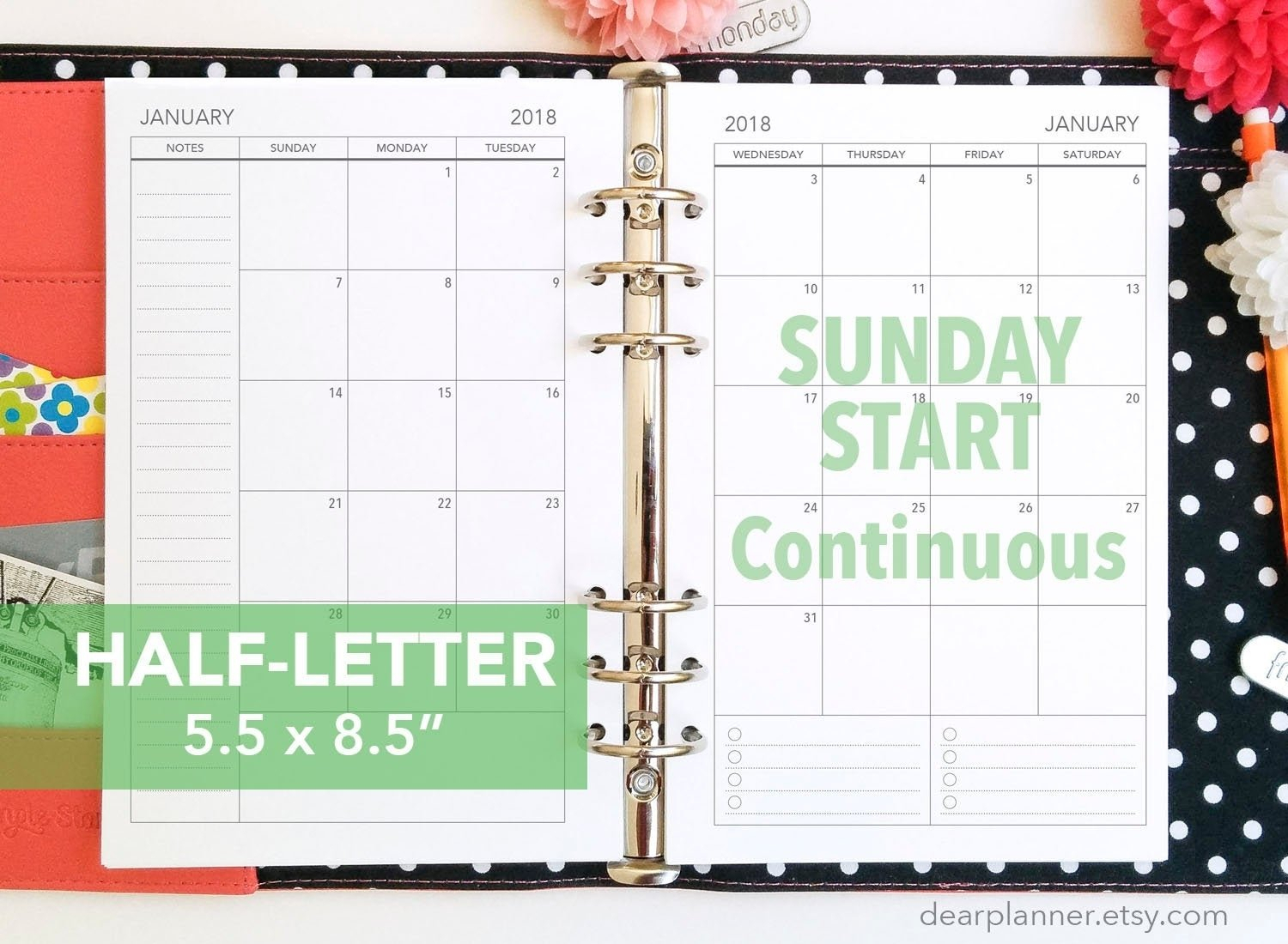 Show Me Monthly Calendars With Agenda Pages That Are 5.5X8.5 :-Free Calendar Template