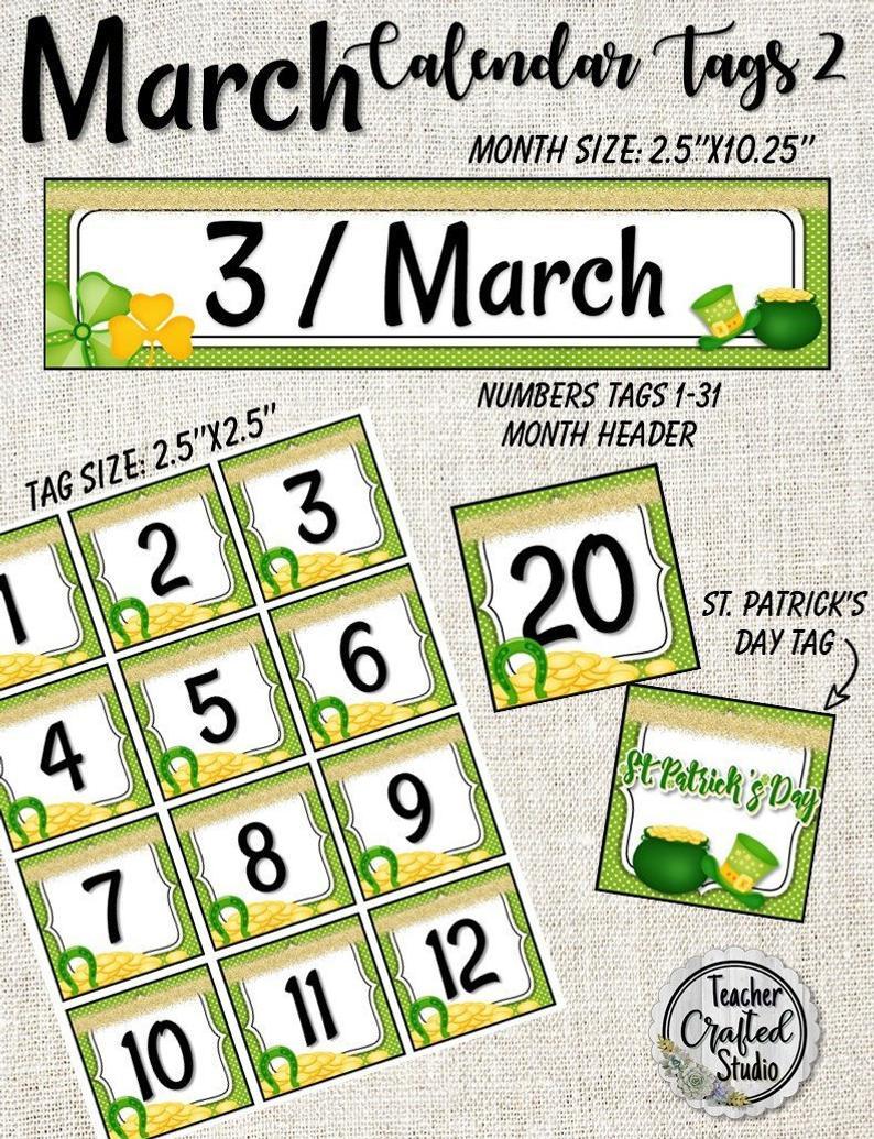 St Printable March Calendar Tag Set Kindergarten Calendar