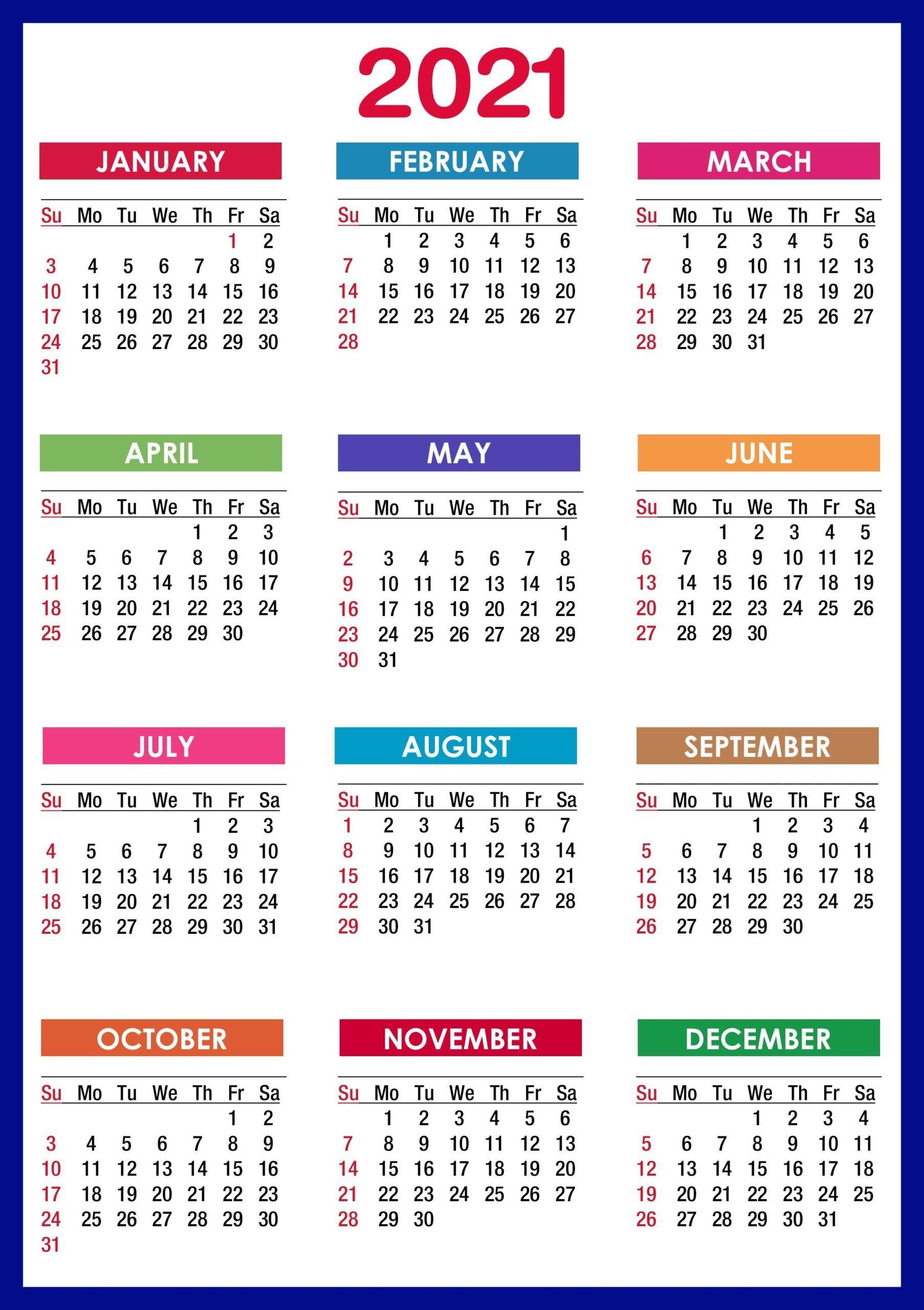 Sunday To Saturday Calendar 2021 Printable   Calendar