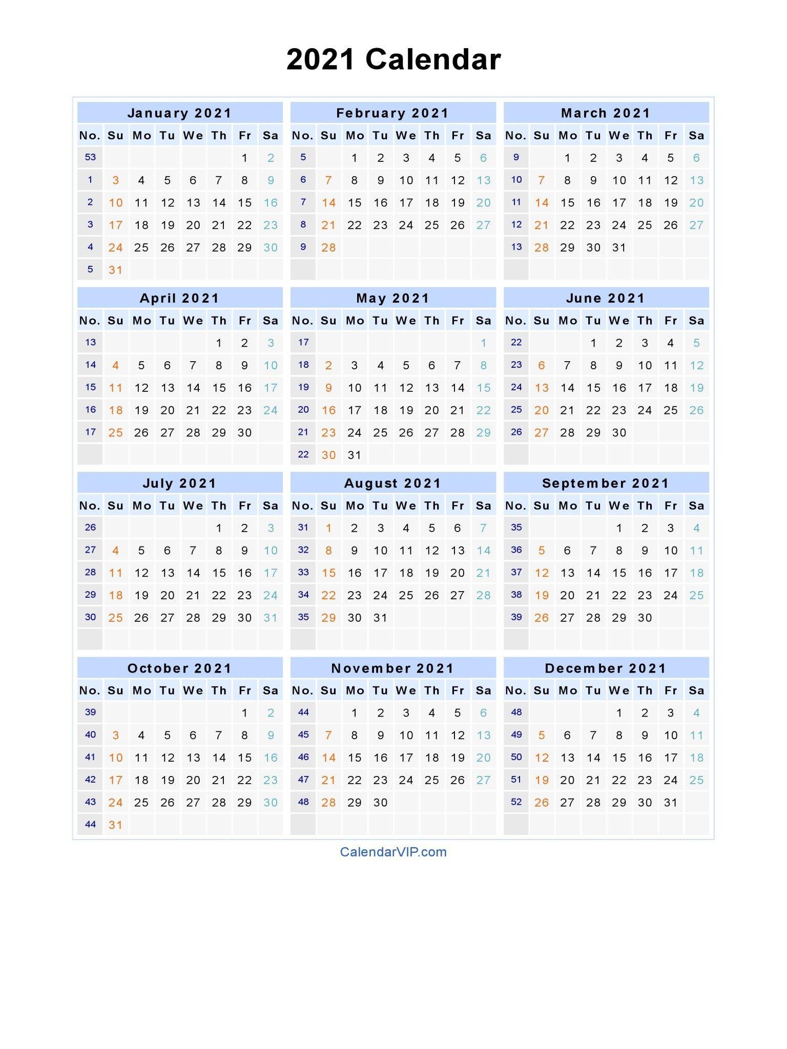 Template Excel 2021 Calendar With Week Numbers Printable