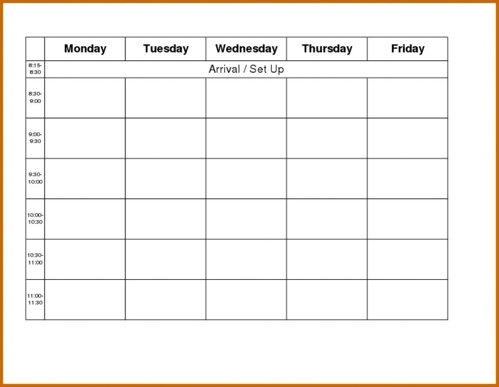 Template For Monday To Friday | Calendar Template Printable