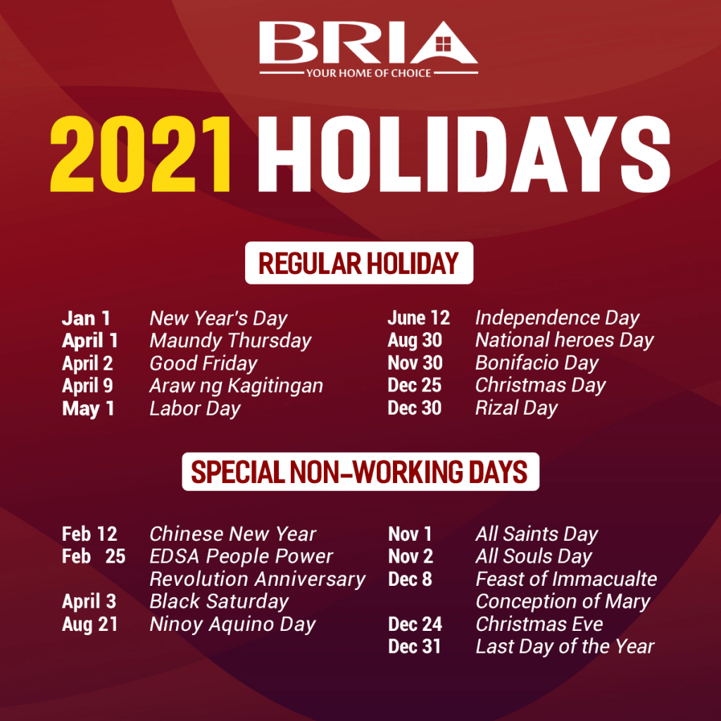 The 2021 Philippine Holiday   Affordable House And Lot   Bria Homes