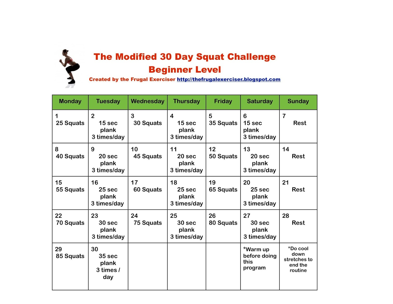 The 30 Day Squat Challenge For Beginners | The Frugal