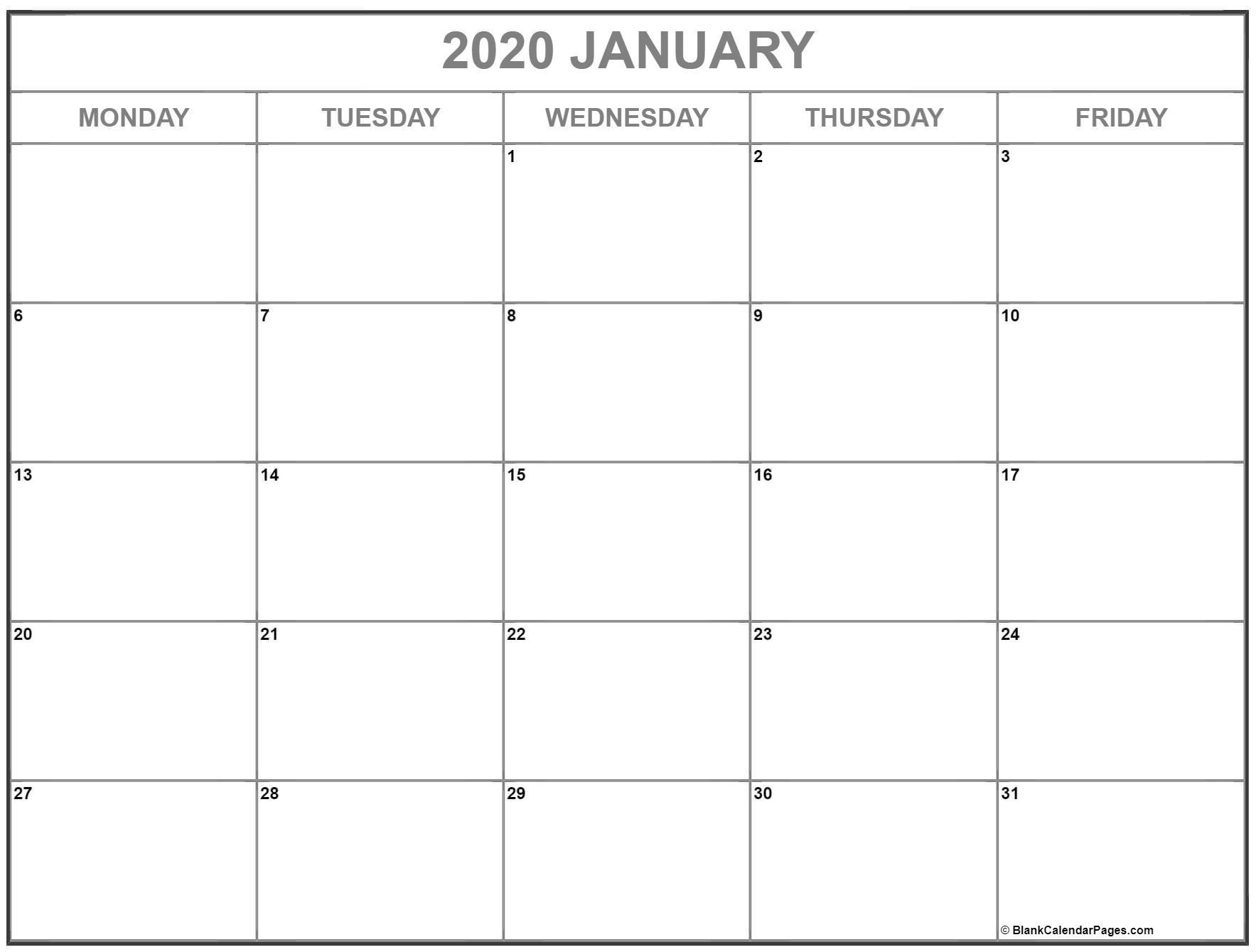 To Write On Printable Calendar 2020 Monday Thru Friday