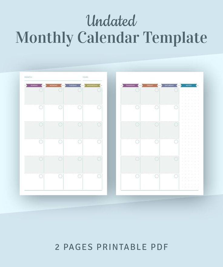 Undated Monthly Calendar Printable Template Monthly