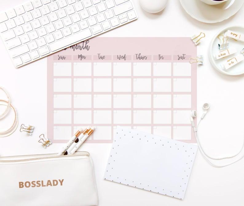Undated Printable Planner Blank Calendar Printable | Etsy