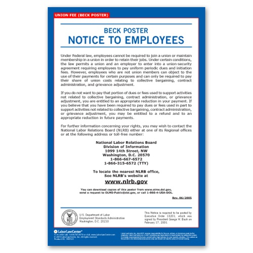 Union Fee Notice (The Beck Poster)