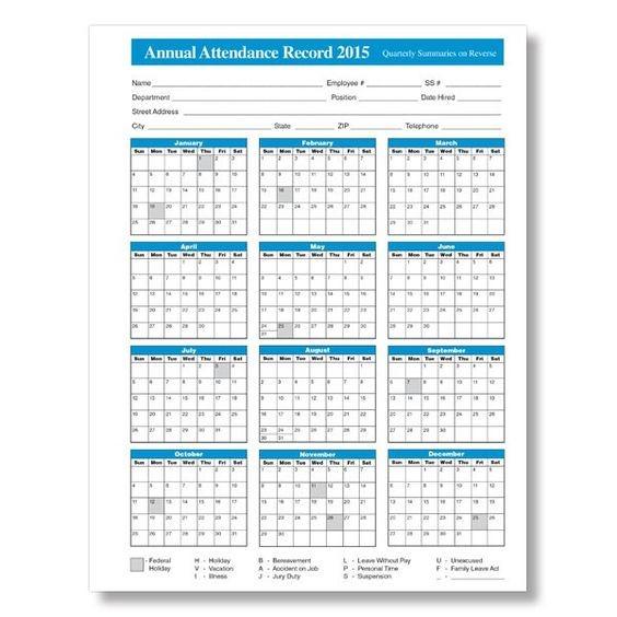 Unique Printable Employee Attendance Calendar   Free