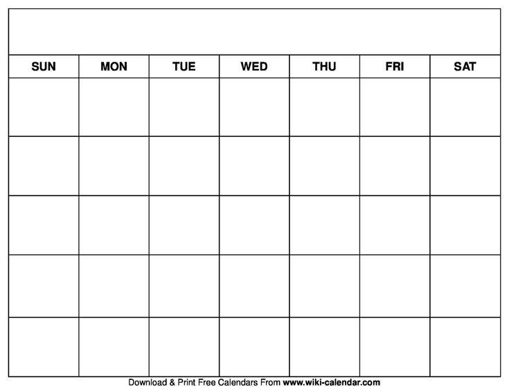 Universal Free Printable Blank Calendar Monday Friday