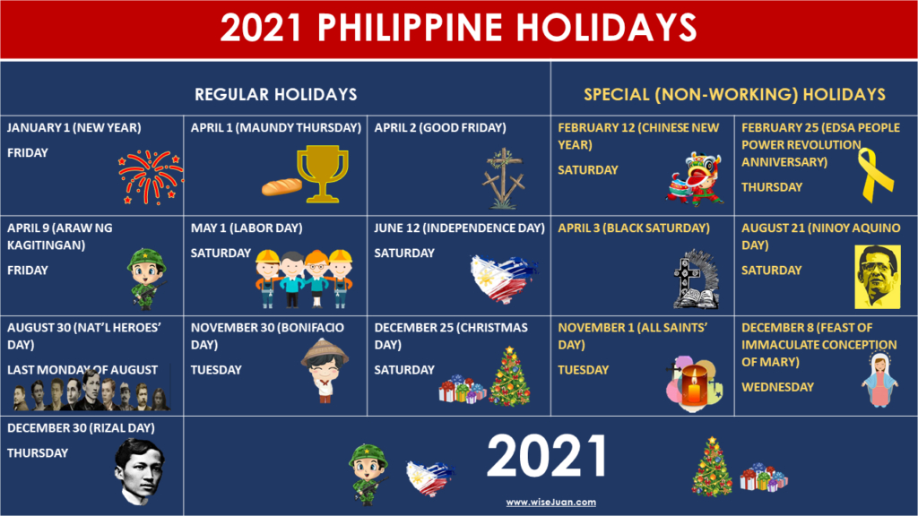 Updated: List Of 2021 Philippine Holidays - Regular And Special Non-Working Days - Wise Juan