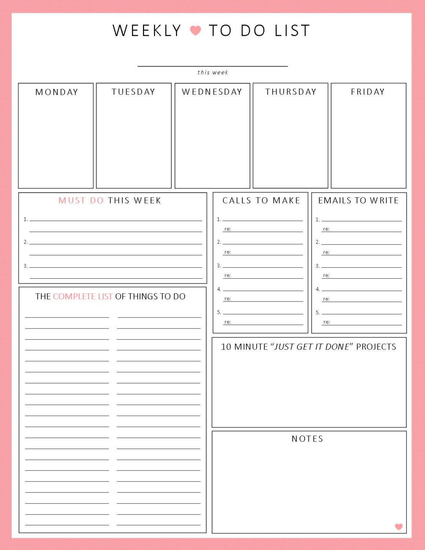 Week At-A-Glance   Printable Worksheet, Weekly Agenda