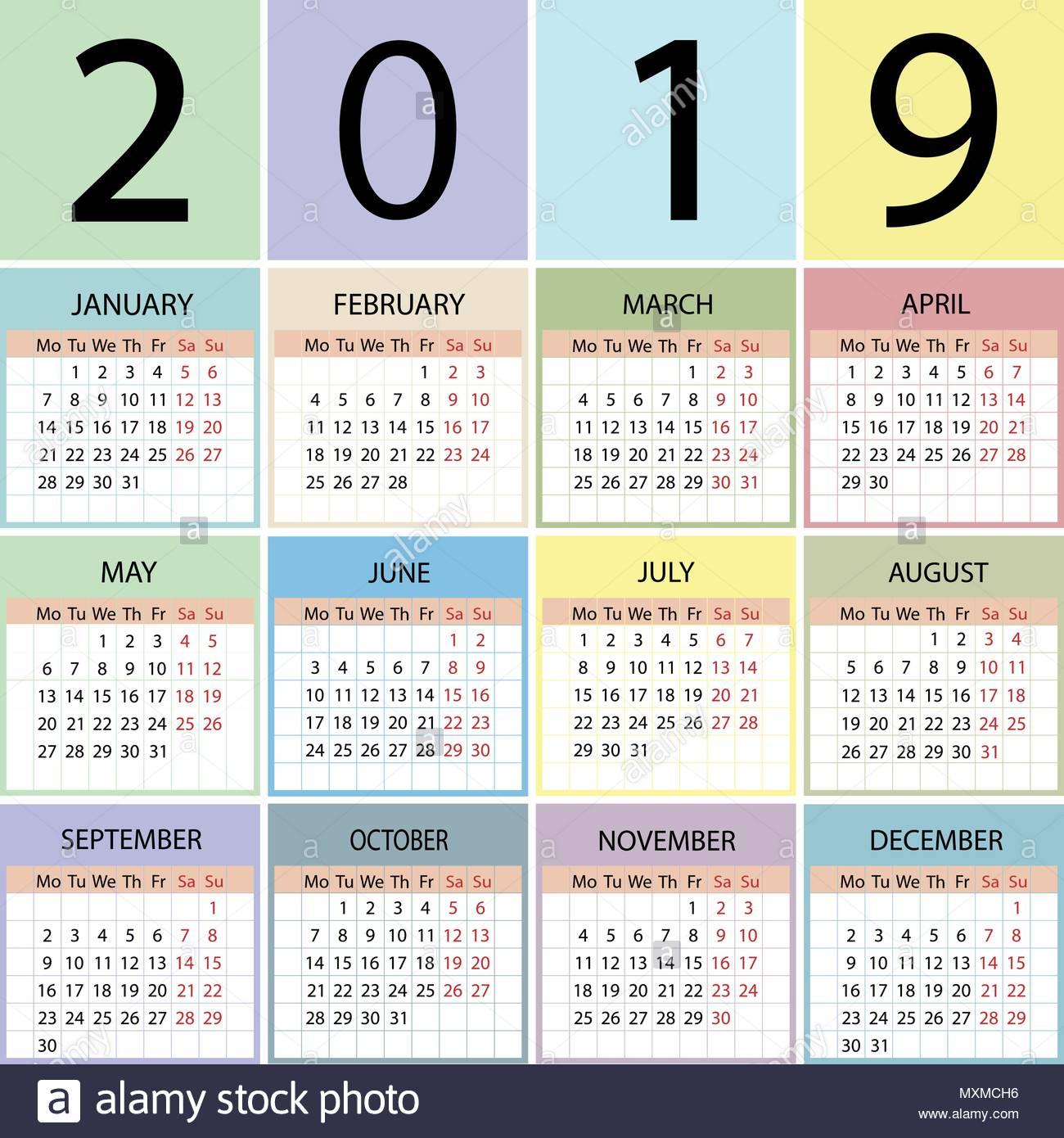 Week Calendar 2019 | 2019 Calendar With Week Numbers And