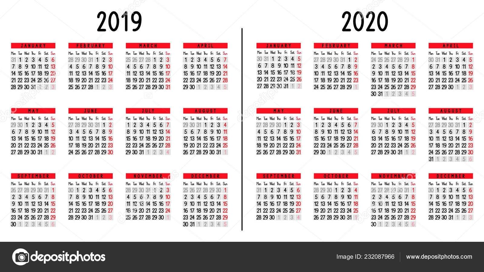 Week Count Calendar 2019-2020 - Calendar Inspiration Design