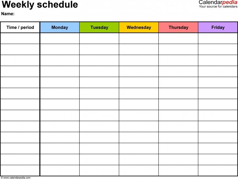 Weekly Calendar Fillable :-Free Calendar Template