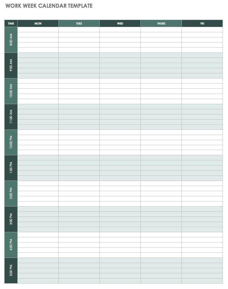 Weekly Calendar Template Excel | Free Weekly Calendar