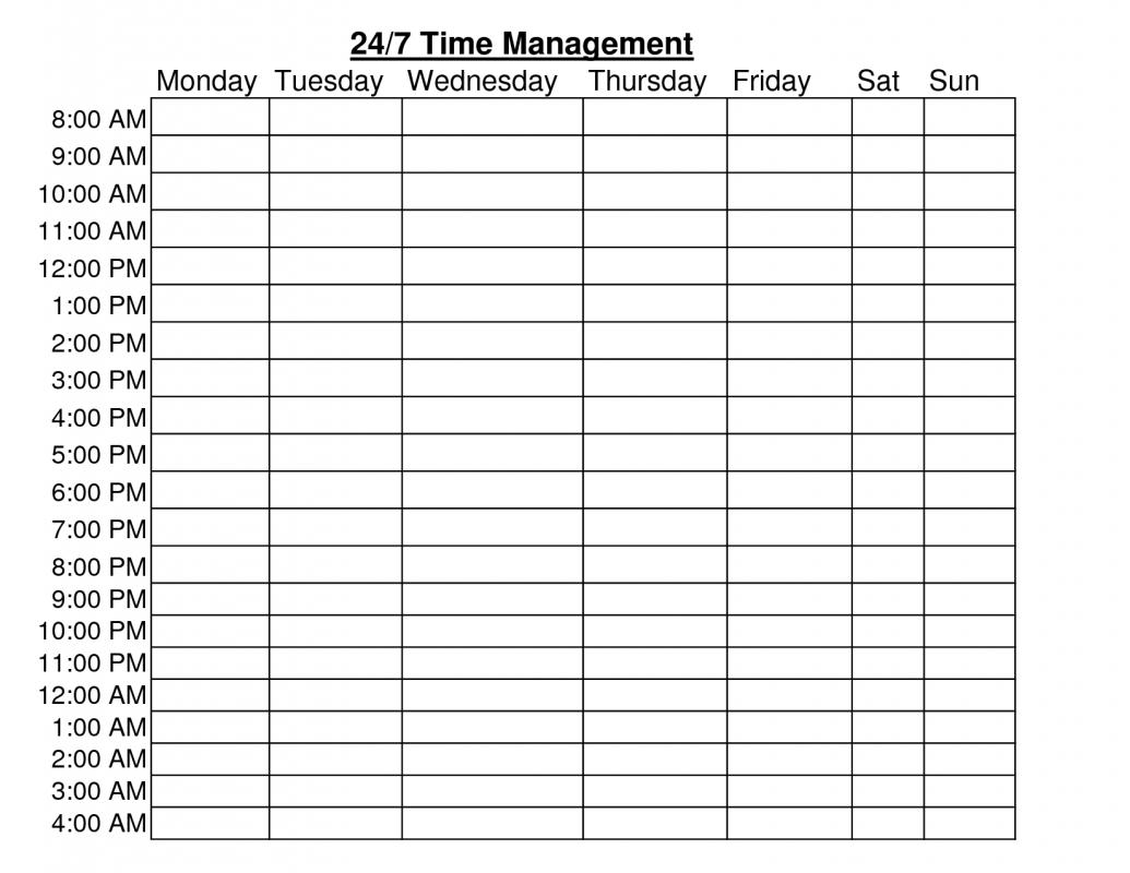 Weekly Hourly Schedule Template   Shatterlion