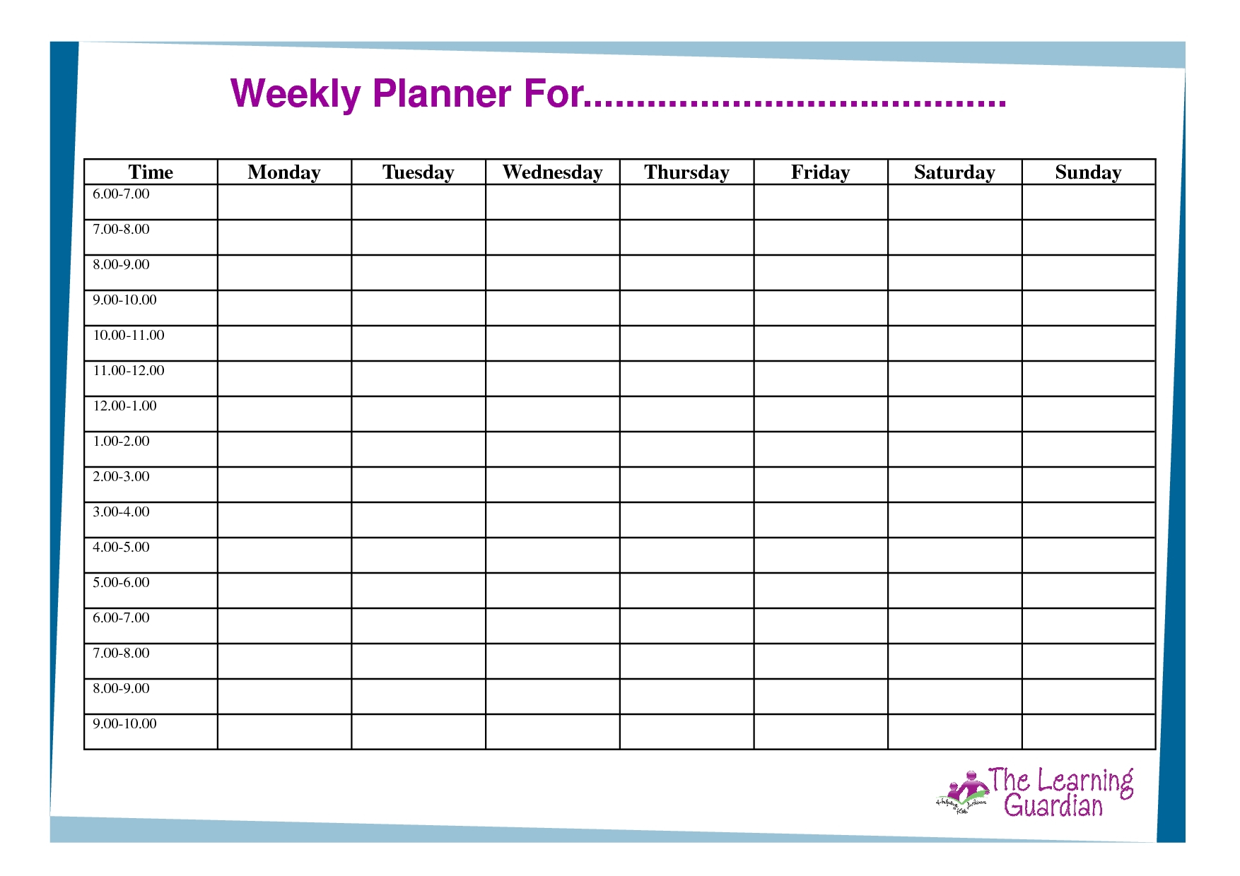 Weekly Planner With Time Slots Word Template - Calendar