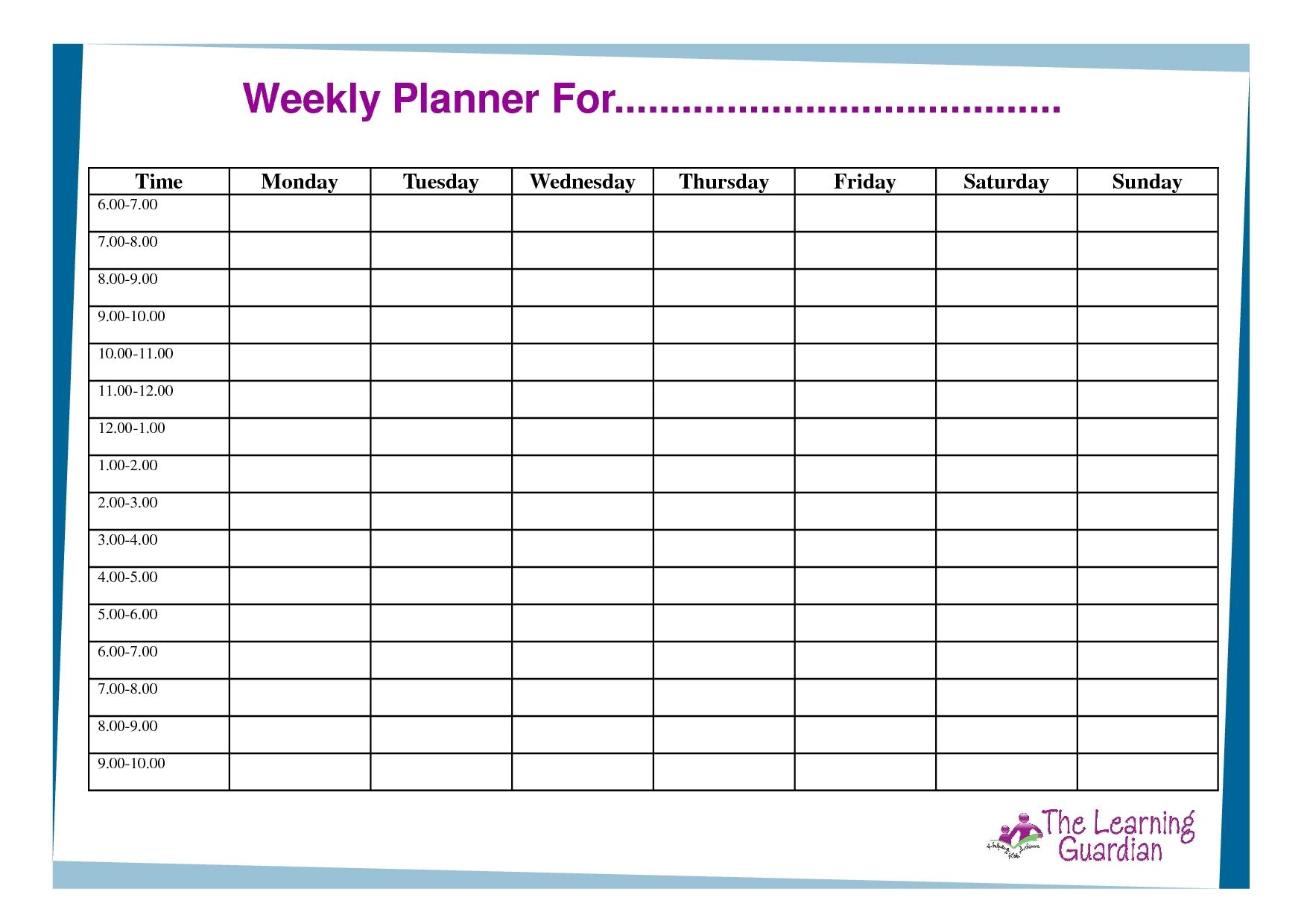 Weekly Schedule Monday Through Friday - Calendar