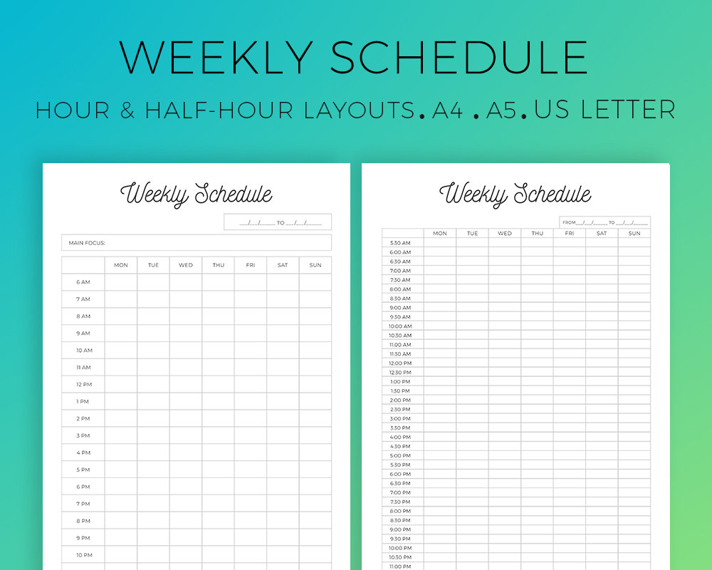 Weekly Schedule Printable Hourly Layout Half-Hour Layout