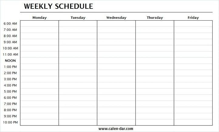Weekly Schedule Template Monday Friday With Times | One