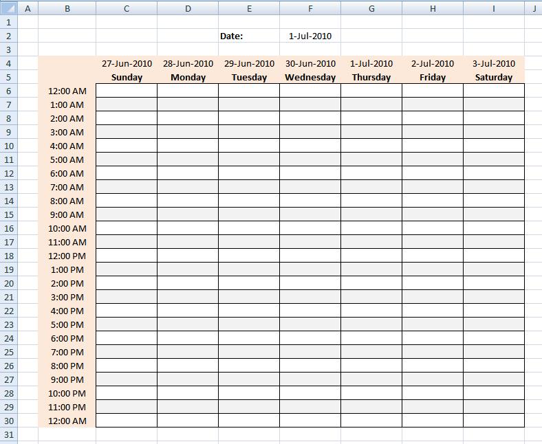 Weekly Time Schedule - Bing
