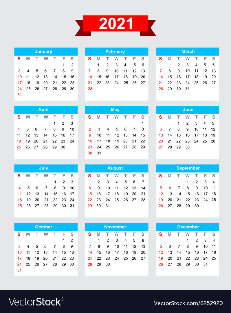 Working Week Calendar 2021 | 2021 Calendar