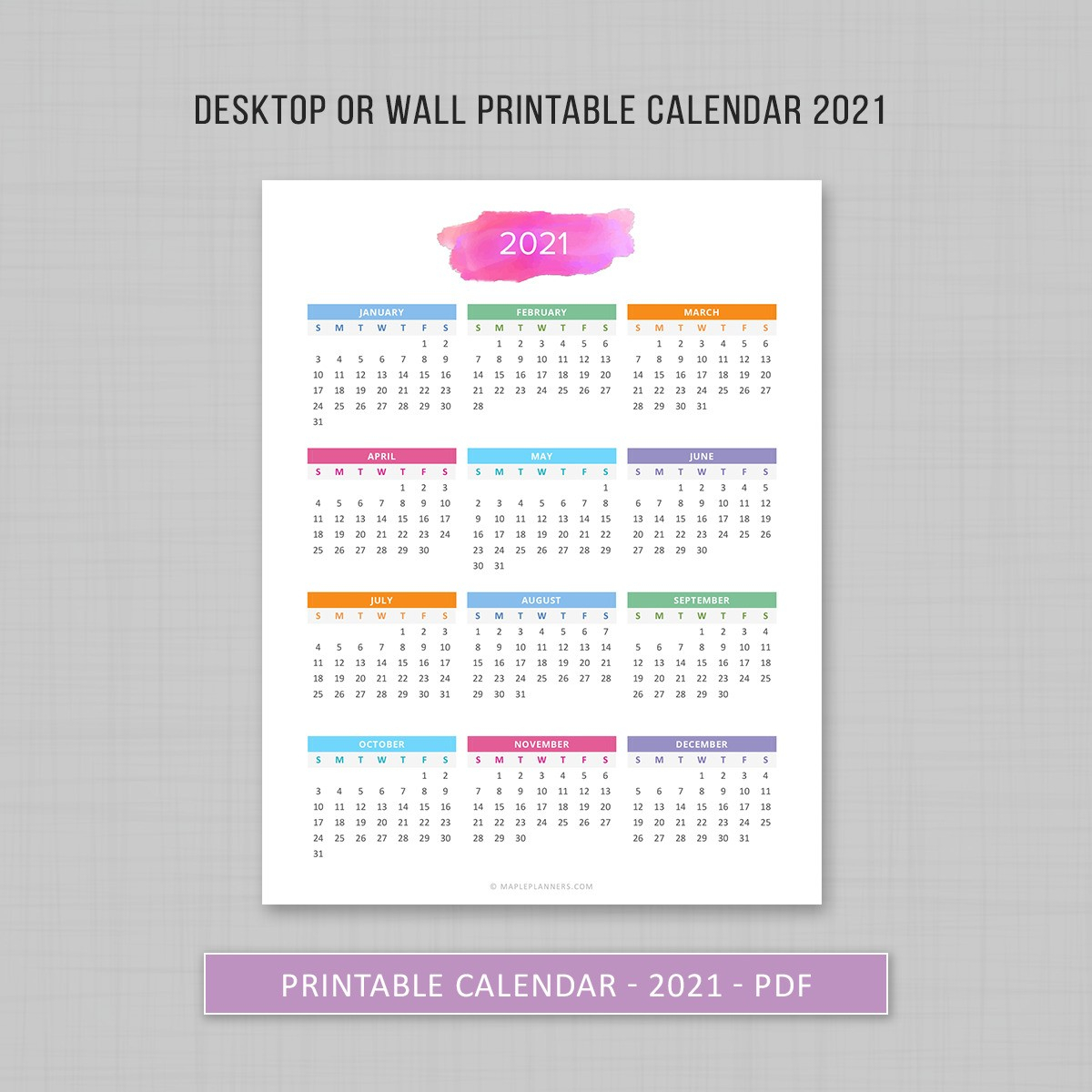 Year At A Glance 2021 - 2022   Printable Yearly Calendar