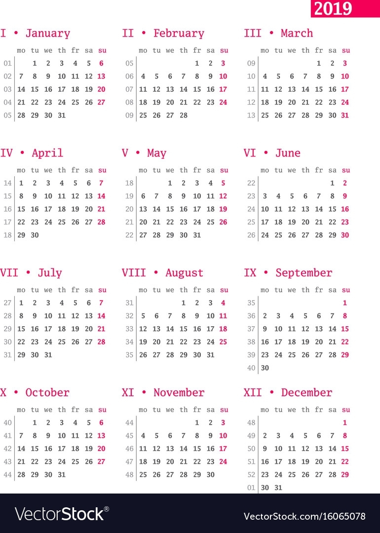 Year Calendar Numbered Weeks | Ten Free Printable Calendar