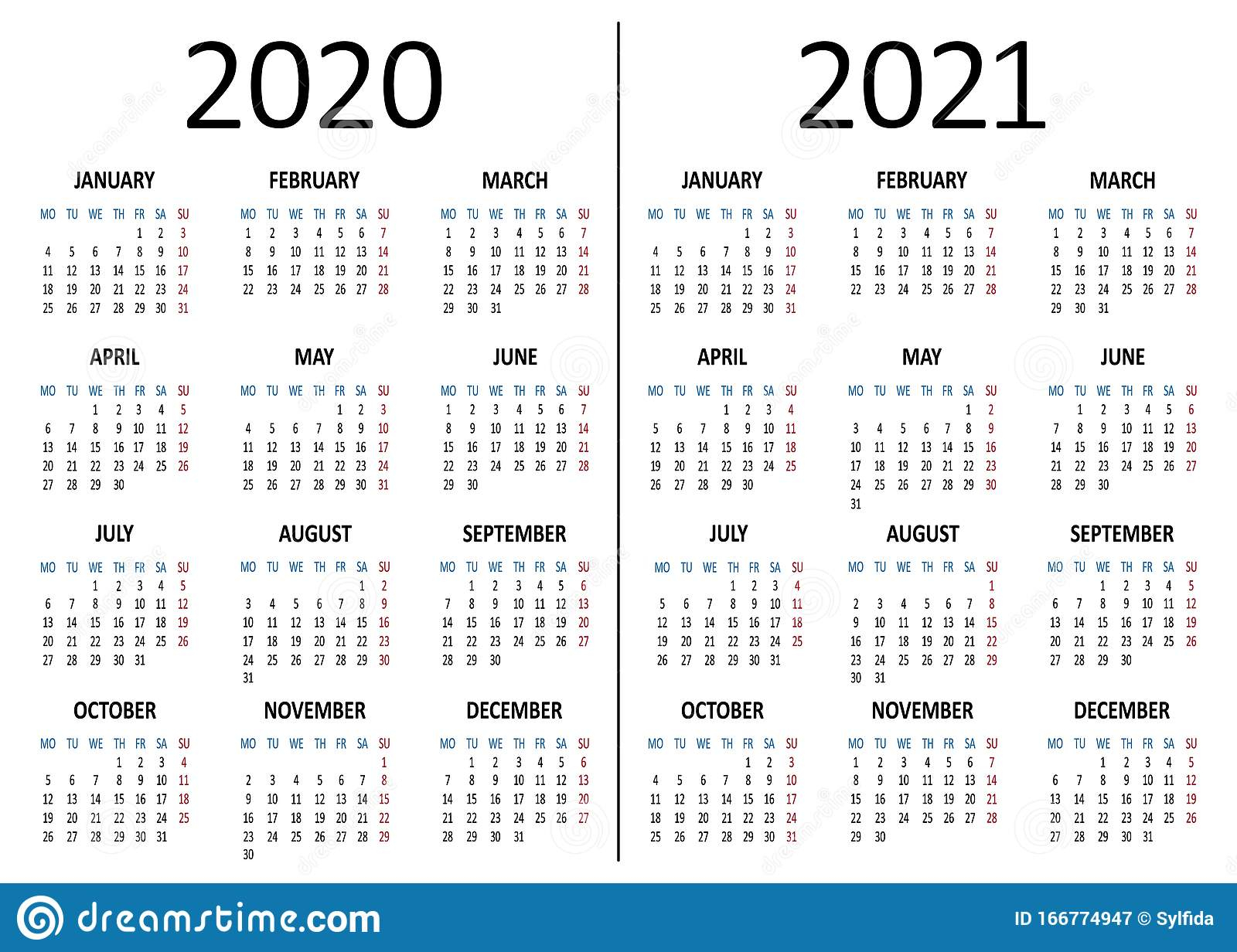 Yearly Calendar 2020, 2021. Week Starts From Monday